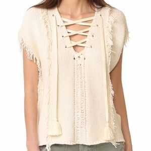 Pam & Gela fringe Baja sleeveless sweater P XS S